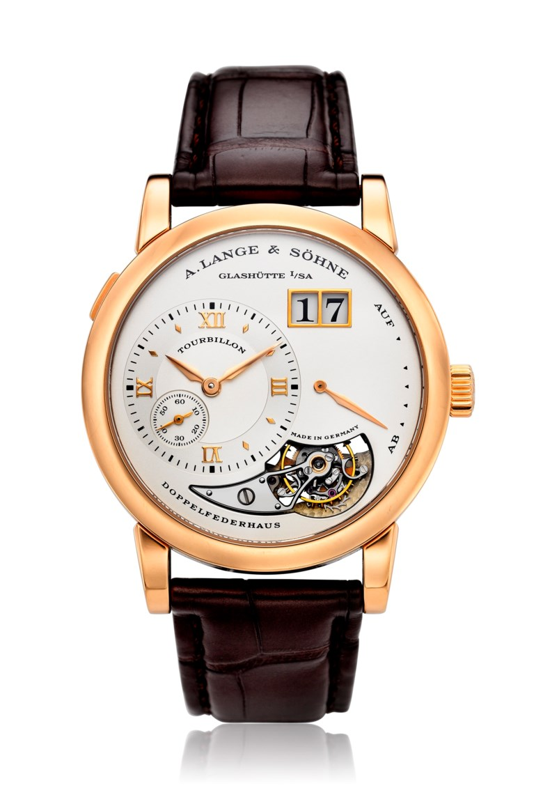 A. Lange & Söhne, Lange 1 Tourbillon, 18k pink gold, ref. 704.032, limited edition no. 51 of 250. Diameter: 38.5mm. Estimate: $60,000-80,000. Offered in Watches Online, 25 February to 10 March 2020, Online