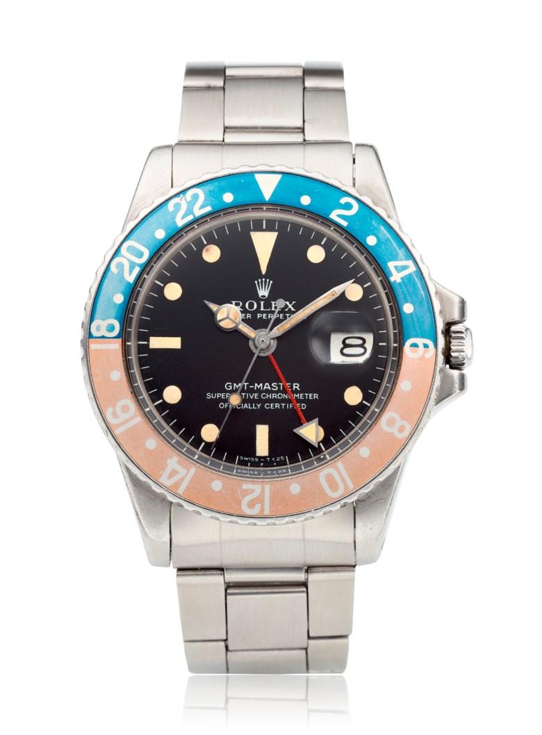 """勞力士,GMT-Master,""""Pepsi"""",型號1675。估價:15,000 – 25,000美元。此拍品將於2020年10月1至13日在Watches Online Discovering Time網上拍賣中呈獻"""