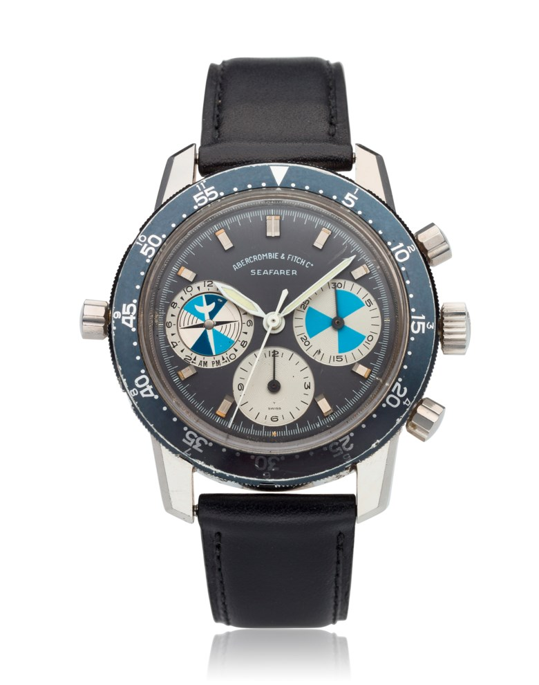 Heuer, retailed by Abercrombie & Fitch, Seafarer, ref. 2446 sf. Estimate $20,000-25,000. Offered in Watches Online Discovering Time, 1-13 October 2020, Online