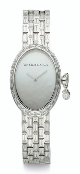 VAN CLEEF & ARPELS, 18K WHITE GOLD & DIAMOND, MOTHER-OF-PEAR