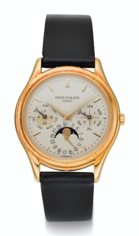 PATEK PHILIPPE, 18K GOLD, PERPETUAL CALENDAR WITH MOON PHASE