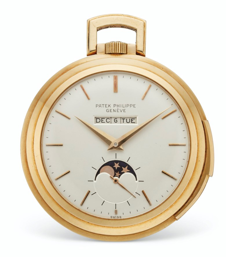 Patek Philippe, 18k gold, openface, minute repeating watch with linear or American perpetual calendar and moon phases, ref. 843. Estimate $120,000-180,000. Offered in  Rare Watches New York Online, 24 November to 10 December 2020, Online