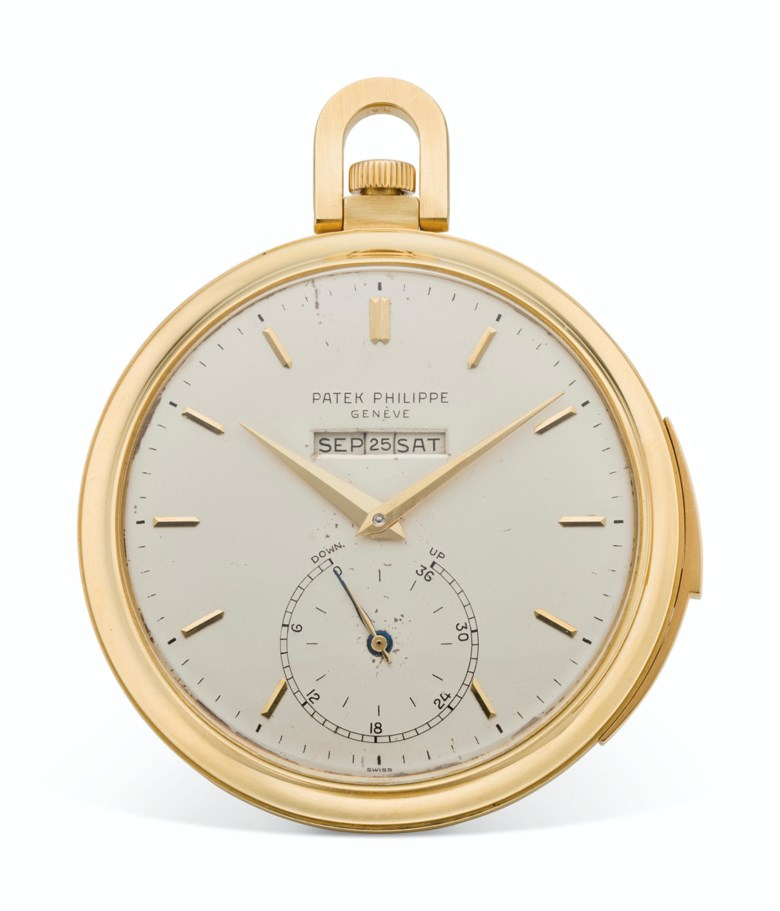 Patek Philippe, 18k gold, open-face, minute repeating perpetual calendar pocket watch with digital display and updown indication, ref. 699-2. Estimate $100,000-300,000. Offered in  Rare Watches New York Online, 24 November to 10 December 2020, Online