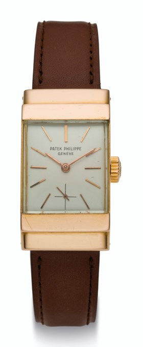 PATEK PHILIPPE, 18K GOLD WRISTWATCH WITH HOODED LUGS, REF 14