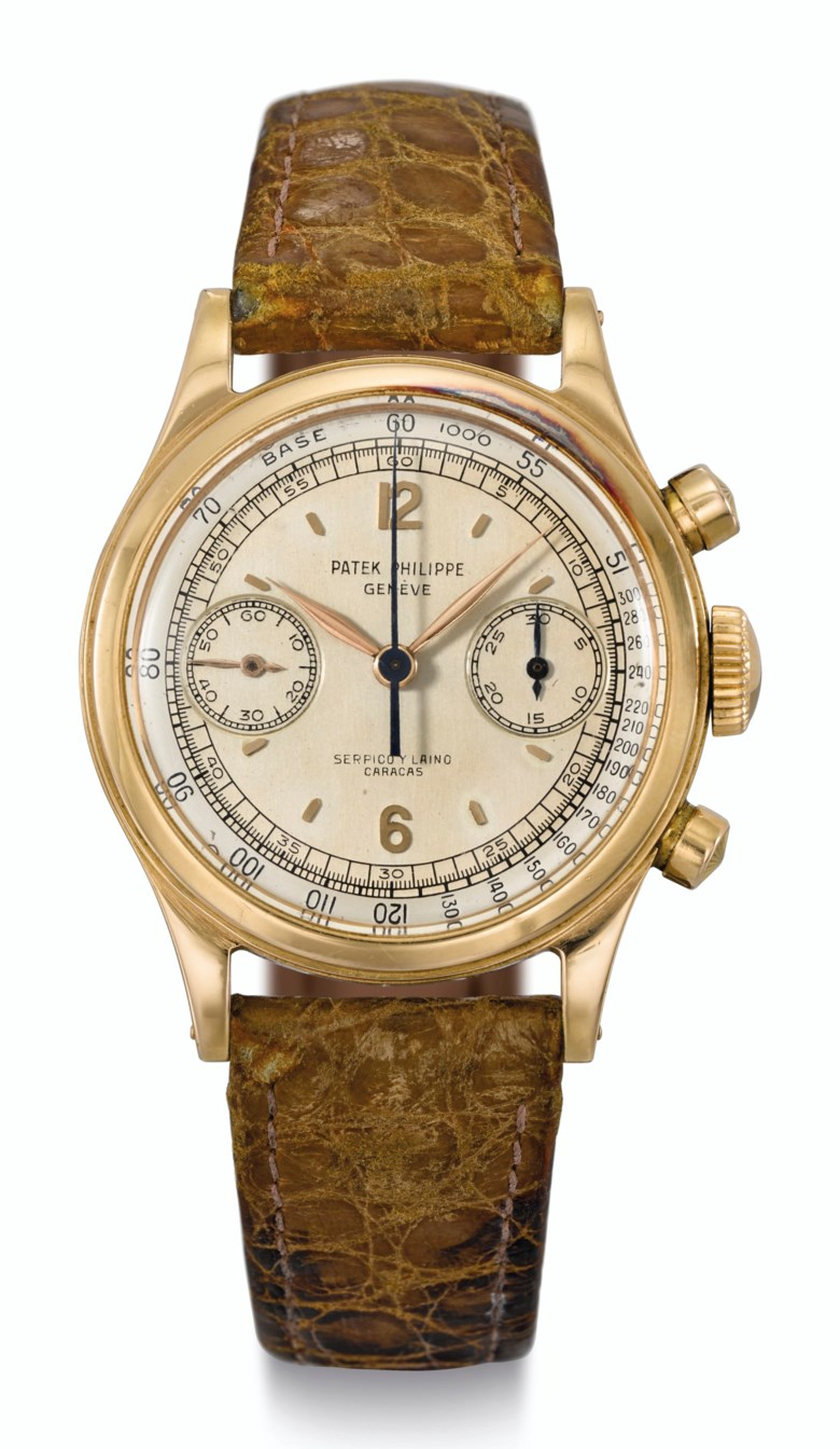 Patek Philippe, 18k pink gold, chronograph, two-tone dial, retailed by Serpico y Laino, Caracas, ref. 1463. Estimate $400,000-600,000. Offered in  Rare Watches New York Online, 24 November to 10 December 2020, Online