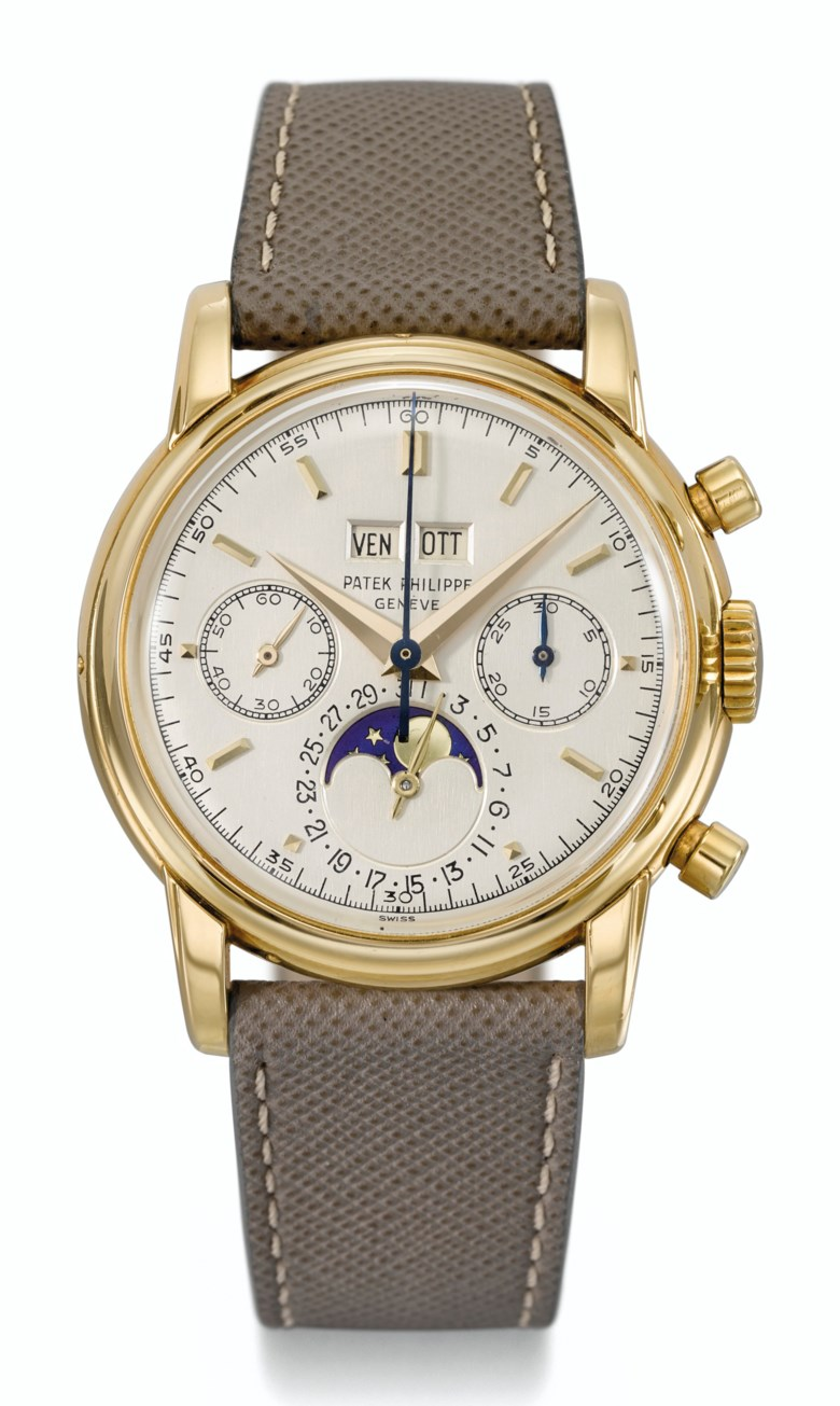 Patek Philippe, 18k gold, perpetual calendar chronograph with moon phases, ref. 2499j, third series.Estimate $350,000-450,000. Offered in  Rare Watches New York Online, 24 November to 10 December 2020, Online