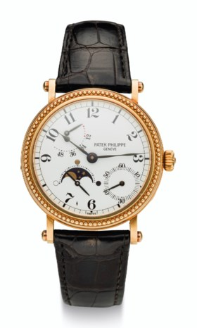 PATEK PHILIPPE, 18K GOLD, POWER RESERVE AND MOON PHASES, REF