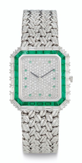 AUDEMARS PIGUET, 18K WHITE GOLD AND EMERALD-SET BRACELET WAT