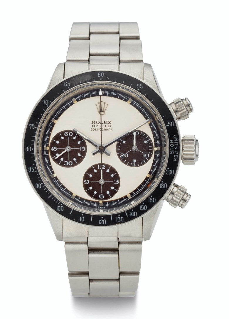 Rolex, steel, chronograph, tropical 'Big Eye Paul Newman Panda' dial, ref. 6263, Case No. 2'653'863. Estimate $300,000-500,000. Offered in  Rare Watches New York Online, 24 November to 10 December 2020, Online