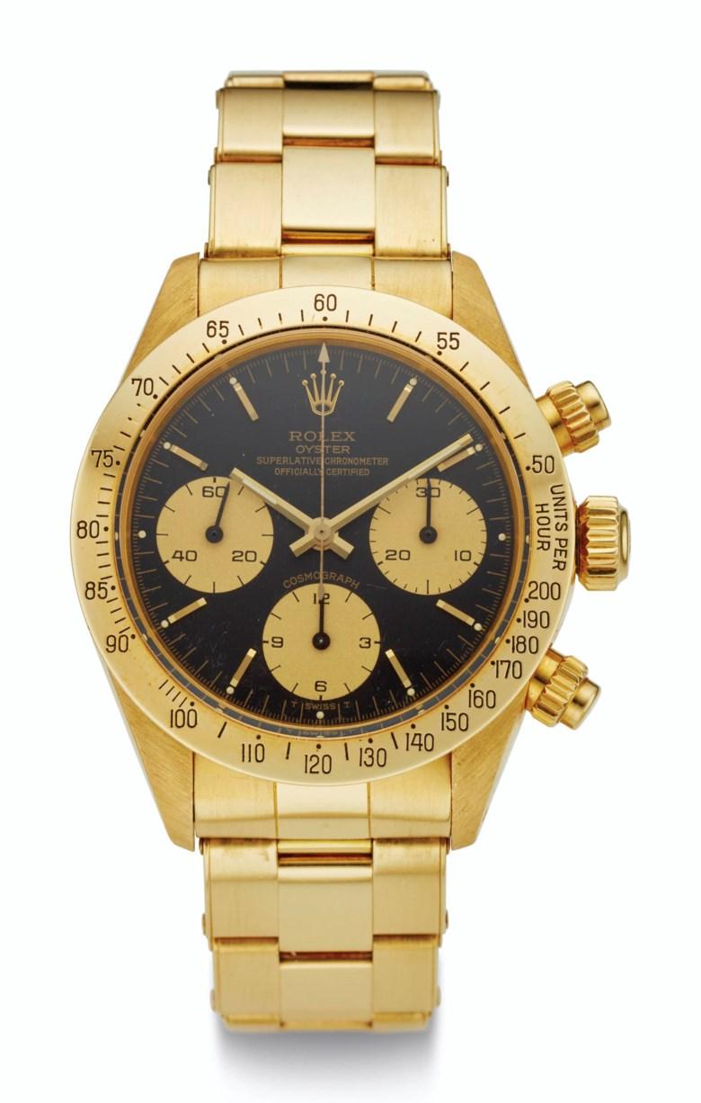 Rolex, 18k gold, Daytona, ref. 6265, case no. 5'953'058. Estimate $90,000-160,000. Offered in  Rare Watches New York Online, 24 November to 10 December 2020, Online