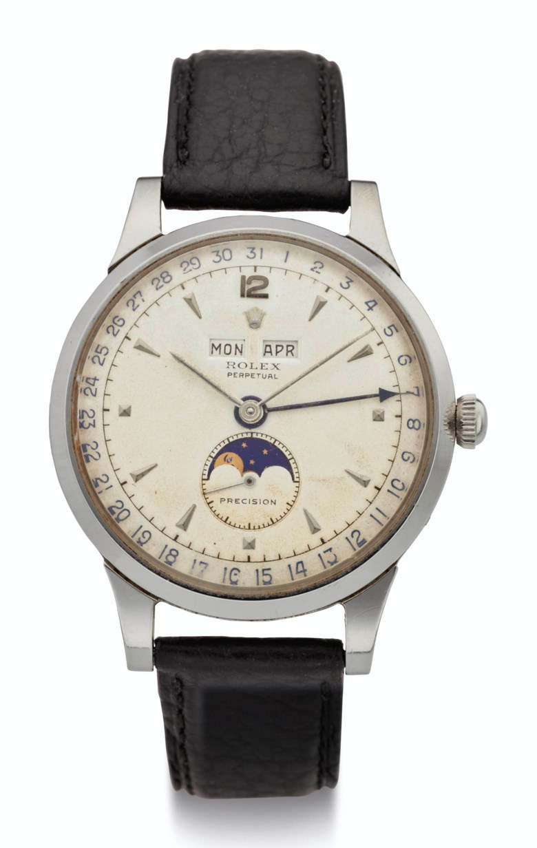 Rolex, steel triple calendar with moon phases, ref. 8171, Case No. 820760. Estimate $100,000-200,000. Offered in  Rare Watches New York Online, 24 November to 10 December 2020, Online