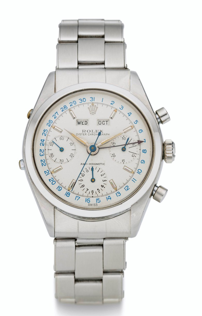 Rolex, steel triple calendar, 'Jean-Claude Killy' model, ref. 6236, Case No. 384218. Estimate $240,000-440,000. Offered in  Rare Watches New York Online, 24 November to 10 December 2020, Online