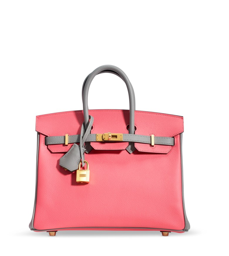 A custom rose azalée & gris mouette epsom leather Birkin 25 with brushed gold hardware, Hermès, 2018. 25 w x 19 h x 14 d cm. Sold for $17,500 in Handbags Online Summer in the City, 14-28 July 2020
