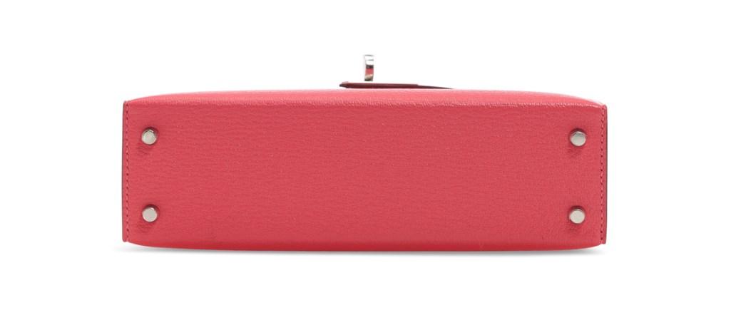 A ROSE LIPSTICK CHEVRE LEATHER MINI KELLY 20 II WITH PALLADIUM HARDWARE
