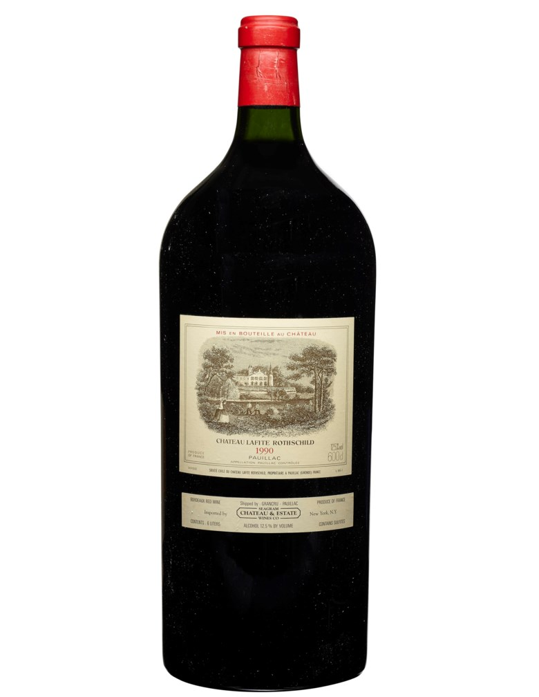 Château Lafite-Rothschild 1990, Pauillac, 1er cru classé. 1 imperial per lot. Good appearance, slightly damaged capsule. Level base of neck In original wooden case, no top lid. Estimate $5,500-7,500. Offered in Wine Online, 24 March to 7 April 2020, Online