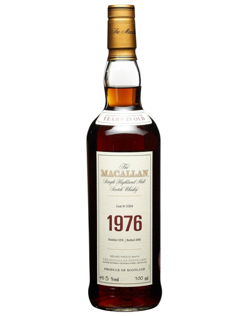 Macallan, 29 Year Old 1976, Speyside. Distilled 1976, bottled 2006, cask no. 11354. In original wooden case. Estimate $12,000-17,000. Offered in Wine & Spirits, 17 September to 1 October 2020, Online