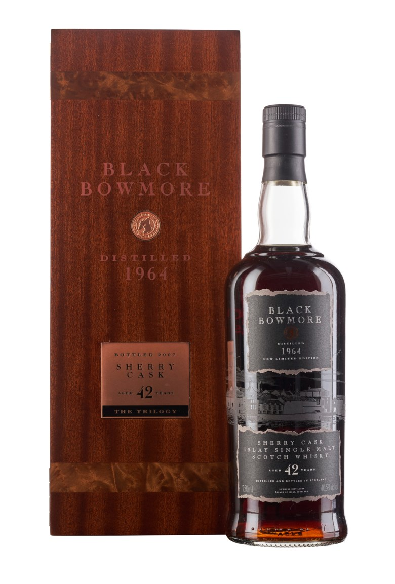 Bowmore Black 42 Year Old 1964,  Islay. Distilled November 1964, bottle #690 of 827. In original wooden box. Estimate $20,000-30,000.  Offered in Wine & Spirits, 17 September to 1 October 2020, Online