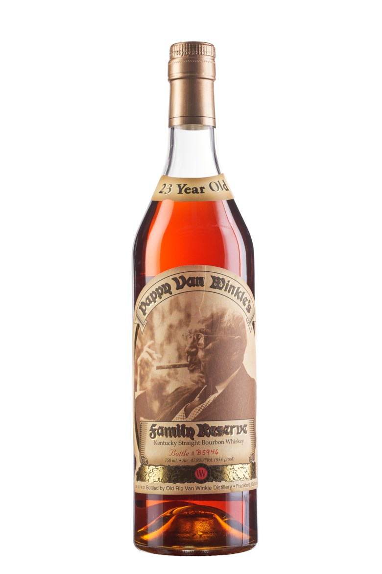 Pappy Van Winkle Bourbon 23 Year, Kentucky. Bottle #B5946. In original presentation bag. Estimate $1,800-2,400. Offered in Wine & Spirits, 17 September to 1 October 2020, Online