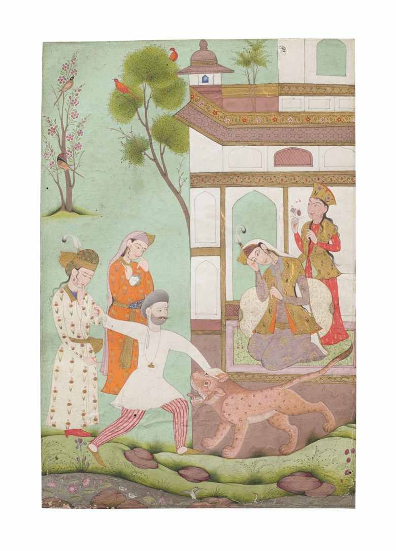 A painting of Rustam killing a lion, India, Deccan, circa 1700. 8¼ x 5¼ in (21 x 14 cm). Estimate $7,000-9,000. Offered in Indian, Himalayan & Southeast Asian Art, 7-23 July 2020, online