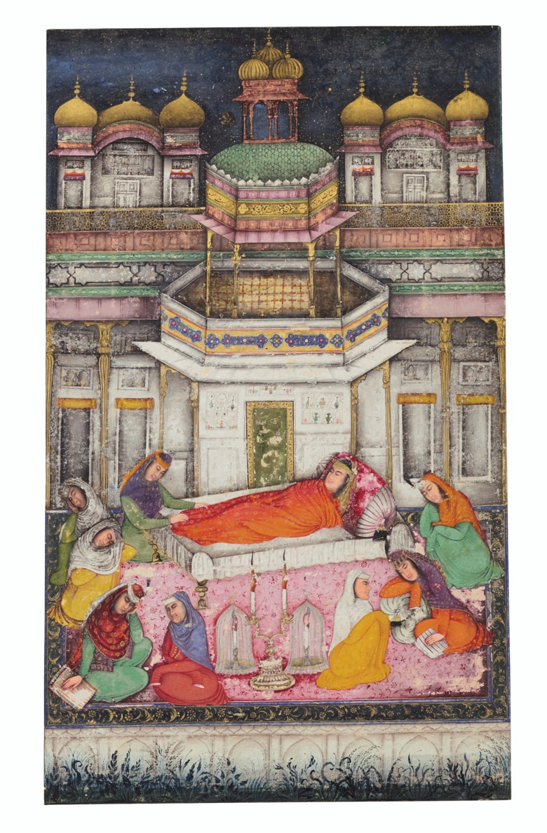 A painting of Zulaikha dreaming from a Yusuf Wa Zulaikha of Jami series, Kashmir, signed by Muhammad Nadir, dated, 1015 AH (1606-1607 AD). Folio 14 x 10 in (35.5 x 25.4 cm). Estimate $20,000-30,000. Offered in Indian, Himalayan & Southeast Asian Art, 7-23 July 2020, online