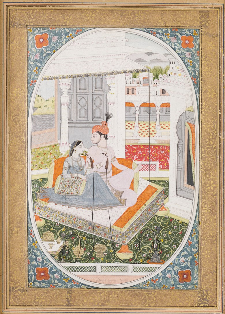 A painting of a Maharaja and his wife enthroned on a palace terrace, North India, Punjab hills, Kangra, circa 1785. 10¼ x 7½ in (26 x 19 cm). Estimate $10,000-15,000. Offered in Indian, Himalayan & Southeast Asian Art, 7-23 July 2020, online