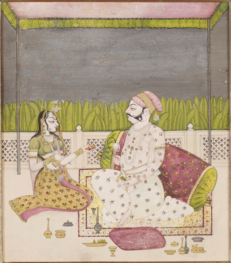 A painting of a prince and a lady seated on a terrace, India, Rajasthan, Kishangarh, circa 1760. 8⅞ x 7⅝ in (22.5 x 19.5 cm). Estimate $10,000-15,000. Offered in Indian, Himalayan & Southeast Asian Art, 7-23 July 2020, online
