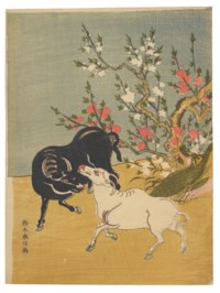 Black and White Oxen Under Blossoming Plum Tree