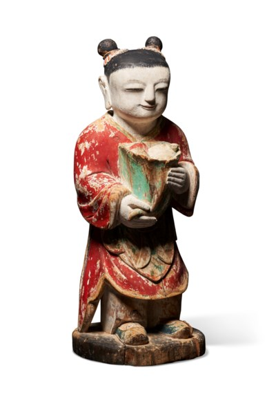 A POLYCHROME WOOD MODEL OF AN