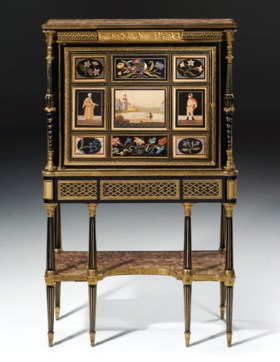 A LATE LOUIS XVI PIETRA DURA AND ORMOLU-MOUNTED EBONY SECRÉT