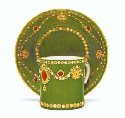 A SEVRES PORCELAIN OLIVE-GREEN