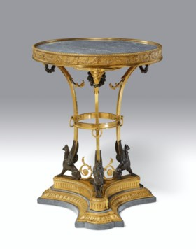 A LATE LOUIS XVI ORMOLU, PATINATED BRONZE AND MARBLE GUERIDO