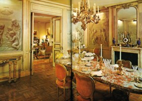 A MASSIVE FRENCH ROUGE LANGUEDOC MARBLE DINING TABLE