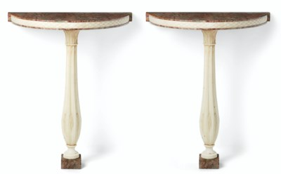 A PAIR OF ITALIAN WHITE AND RE