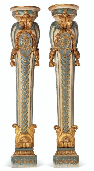 A PAIR OF LATE LOUIS XV BLUE,