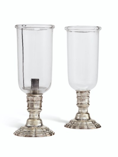 A PAIR OF FRENCH SILVERED-BRAS