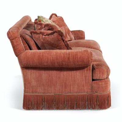 A VELVET UPHOLSTERED TWO-SEAT