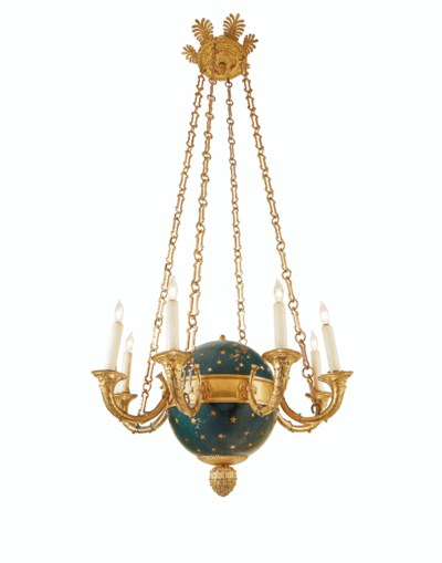 AN EMPIRE ORMOLU AND BLUED AND