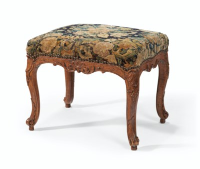 A FRENCH BEECHWOOD TABOURET