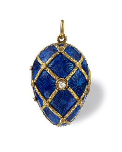 A GOLD AND BLUE GUILLOCHE ENAM