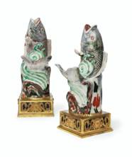 A PAIR OF ORMOLU AND BLUE SILV