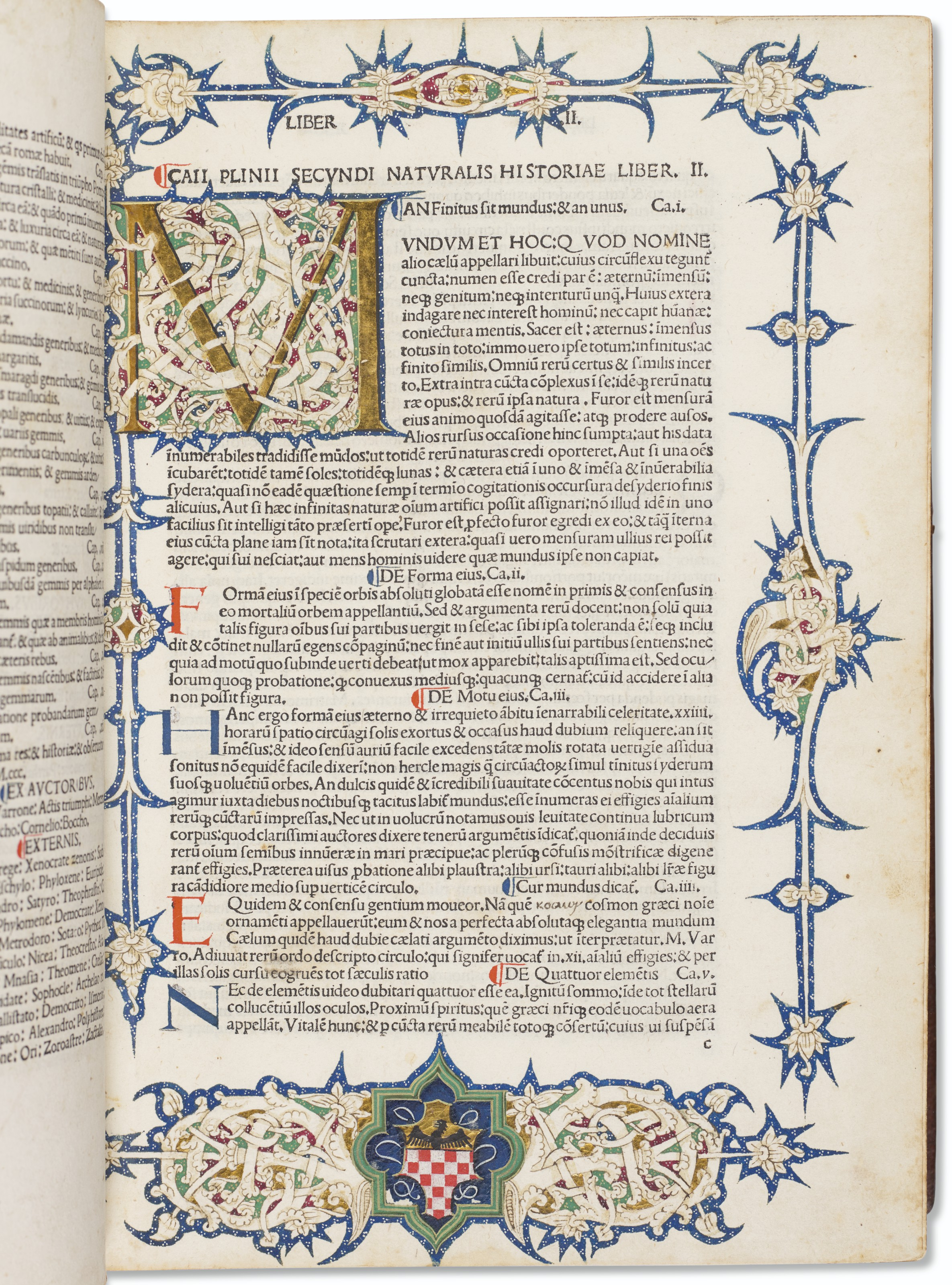 Beautifully illuminated incunable of the Natural History