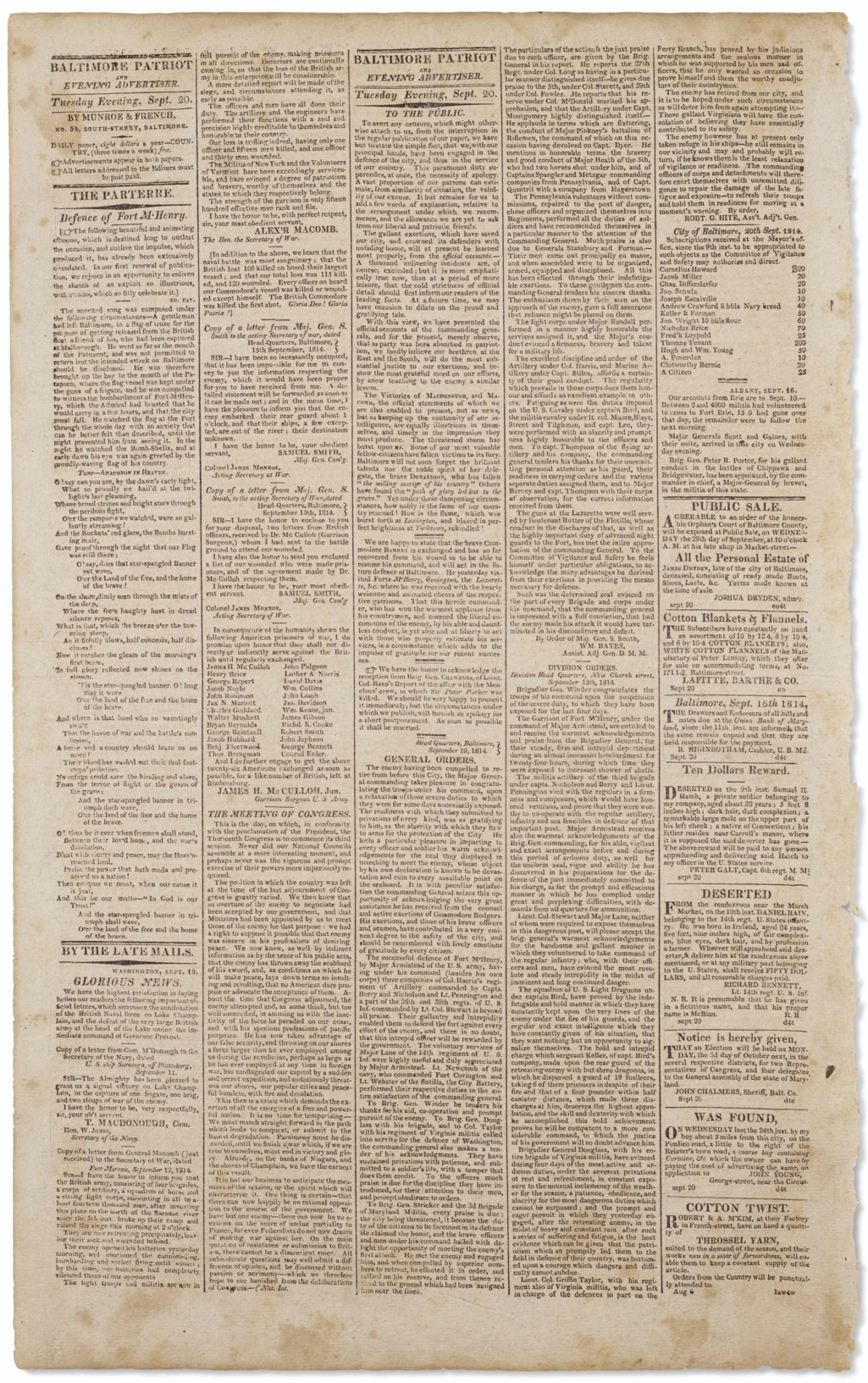 The first dated printing of the Star-Spangled Banner
