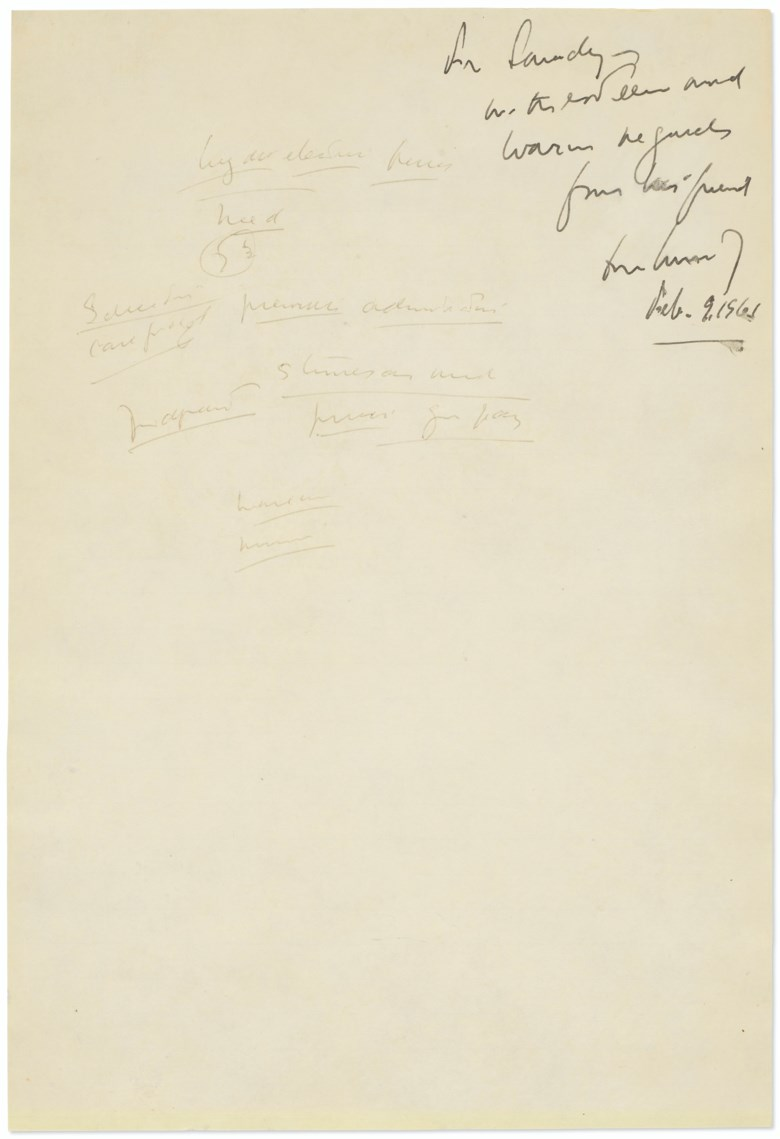 Notes from the first presidential debate, John F. Kennedy, autograph manuscript, Chicago, 26 September 1960. With signed inscription in ink at top right, 'For Sandy [Vanocur] with esteem and warm regards from his friend John Kennedy Feb. 9, 1961.' Estimate $30,000-50,000.Offered inFine Printed Books & Manuscripts Including Americana, 1-16 October 2020, Online