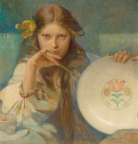 Girl with a Plate with a Folk Motif