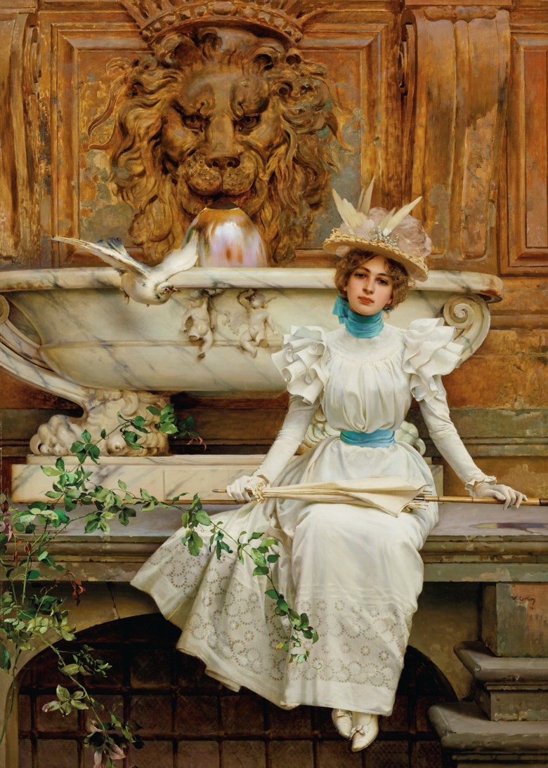 Vittorio Matteo Corcos (1859-1933), Alla fontana (Le due colombe), 1896. Oil on canvas. 82¼ x 59 in (208.9 x 149.9 cm). Estimate $500,000-700,000. Offered in European Art Part I on 15 October 2020 at Christie's in New York
