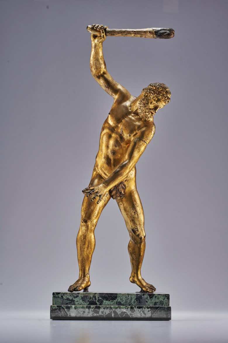 Italian, after Giambologna, a gilt-bronze figure of Hercules, 17th century. 16¼ in (41.3 cm) high, 18 in (45.7 cm) high, overall. Sold for $81,250 in Old Master Paintings and Sculpture, 2-19 June 2020, Online