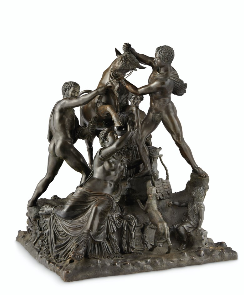 A bronze group of the 'Farnese Bull', probably Southern Italian, 19th century. 20 in (50.8 cm) high, 16½ in (41.3 cm) square. Offered in Old Master Paintings and Sculpture, 2-19 June 2020, Online