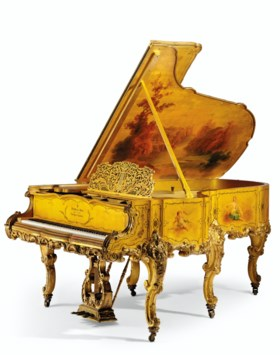 A FINE GILTWOOD AND VERNIS MARTIN GRAND PIANO