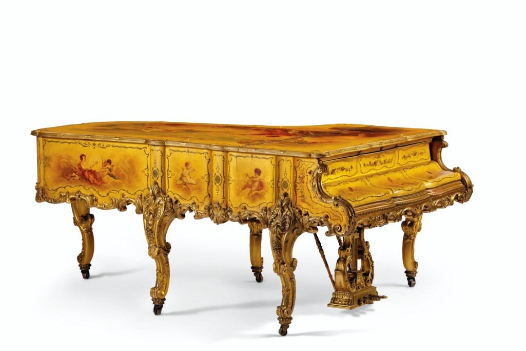A FINE GILTWOOD AND VERNIS MARTIN GRAND PIANO