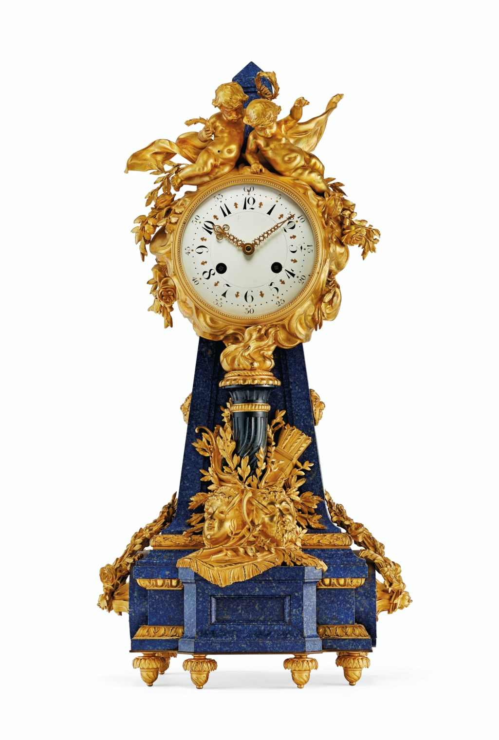 A FINE FRENCH ORMOLU-MOUNTED LAPIS LAZULI AND BLOODSTONE MANTLE CLOCK